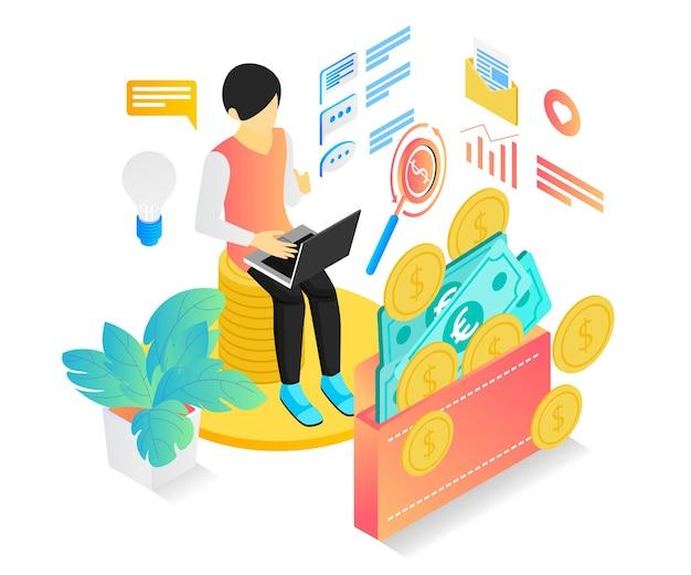 Isometrische darstellung von bonus oder cashback für erfolge mit charakter und gefüllter brieftasche