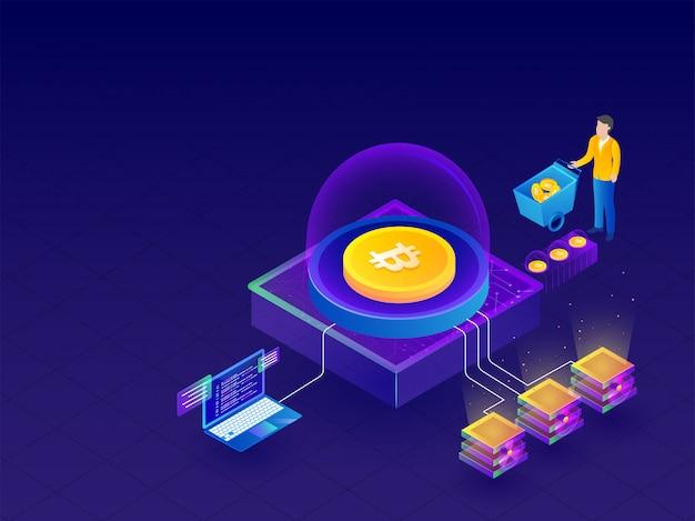 Isometrische darstellung von crypto mining servern verbunden.