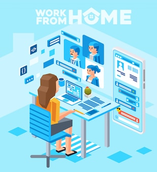 Isometrische darstellung von frauen, die von zu hause aus mit dem computer arbeiten und online-telefonkonferenzen mit kunden durchführen