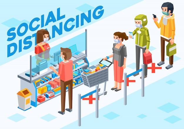 Isometrische darstellung von personen, die soziale distanzierung betreiben, wenn sie an der kasse im supermarkt bezahlen