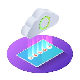 Isometrische datei des tablets 3d der tablette zur wolke