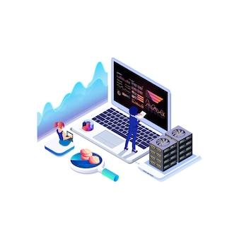 Isometrische datenerfassung, analysediagramm und online-computing.