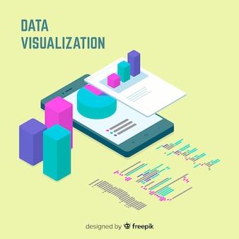 Isometrische datenvisualisierungselementhintergrund