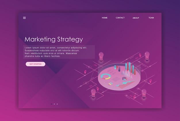 Isometrische design-landing-page-business-vorlage