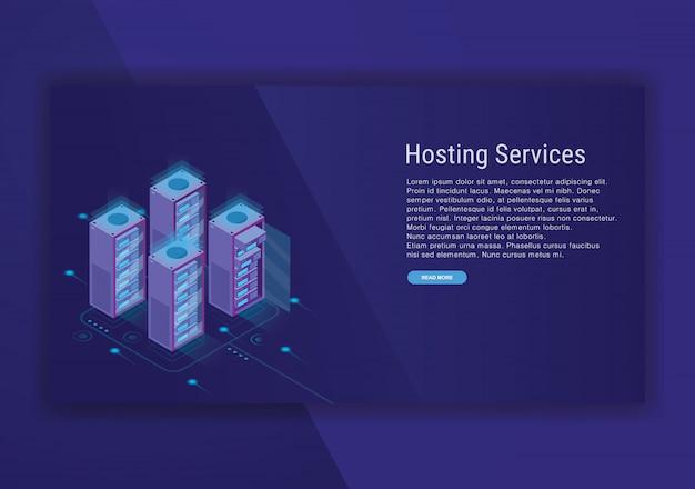 Isometrische designvorlage für hosting-services