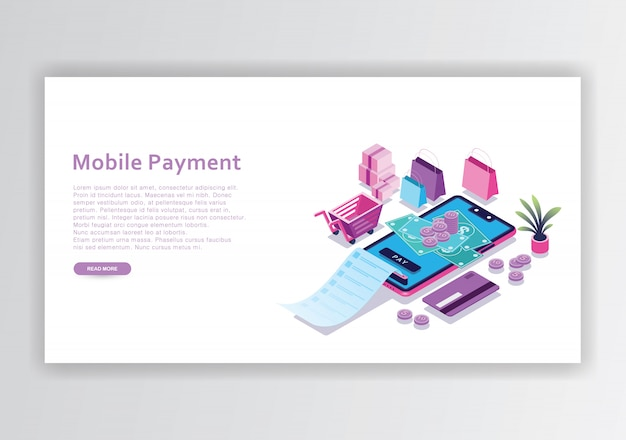 Isometrische designvorlage für mobile zahlungen