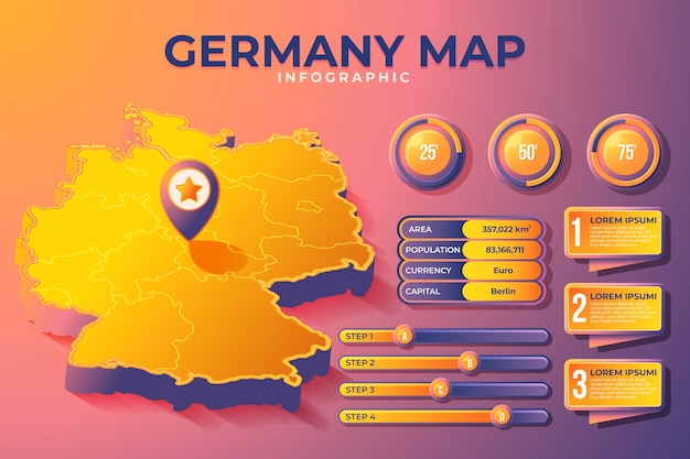 Isometrische deutschlandkarte infografik
