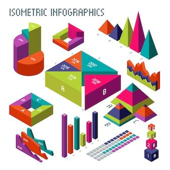 Isometrische diagramme und diagramme des vektors 3d für ihre informationen infographic und geschäftsdarstellung