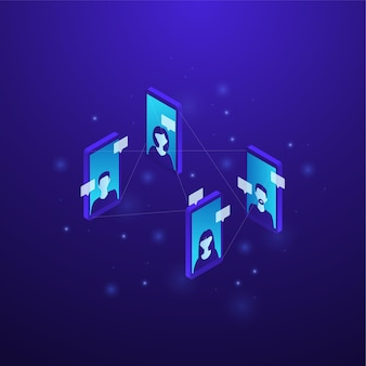 Isometrische digitale kommunikationskonzeptillustration