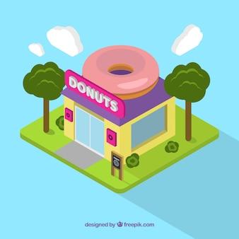 Isometrische donuts shop