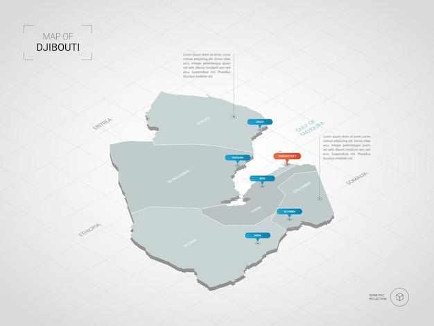 Isometrische dschibuti-karte. stilisierte kartenillustration mit städten, grenzen, hauptstadt, verwaltungsgliedern und zeigern; verlaufshintergrund mit gitter.
