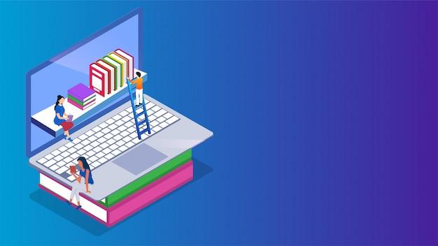Isometrische e-bibliothek oder online-bibliothek auf laptop.