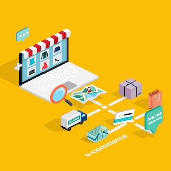 Isometrische e-commerce-illustration