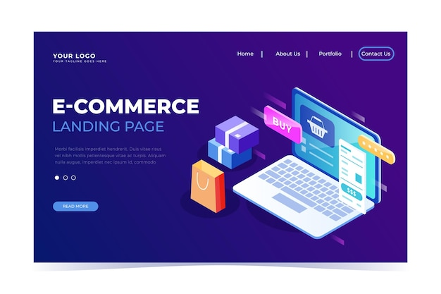 Isometrische e-commerce-landingpage