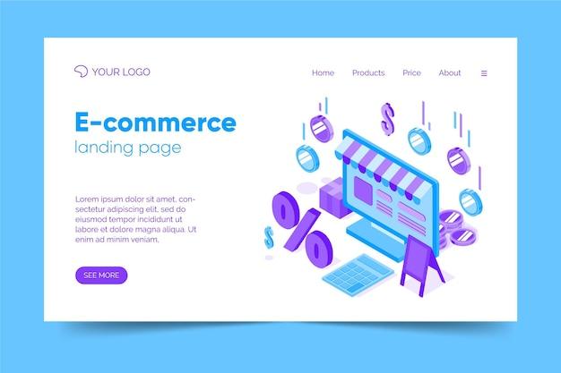 Isometrische e-commerce-zielseitenvorlage