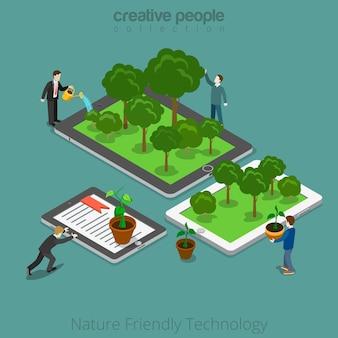Isometrische ebene menschen, die pflanzen auf ihren tablets und smartphones züchten und zusammen bewegen. naturfreundliches technologie-3d-isometriekonzept.