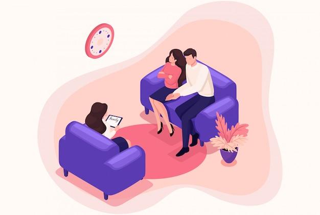 Isometrische ehepartner an der rezeption des psychologen, konflikt in der familie. konzept für webdesign