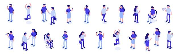 Isometrische eine große gruppe von menschen. männliche und weibliche charaktere. vektor-illustration.