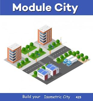Isometrische eingestellte modulstadt