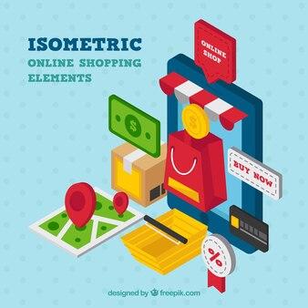 Isometrische einkaufselemente