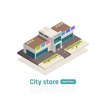 Isometrische einkaufszentren-einkaufszentrums-zusammensetzungsfahne mit grünem knopf und großer isolierter einkaufszentrenvektorillustration