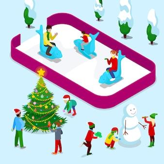 Isometrische eisbahn mit menschen und weihnachtskindern in der nähe von weihnachtsbaum und schneemann. illustration