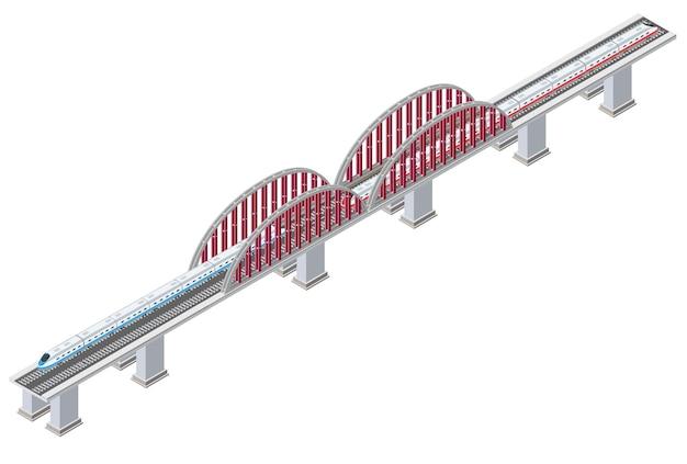 Isometrische eisenbahnlokomotive transport eisenbahnbrücke dreidimensional mit zug und stützen