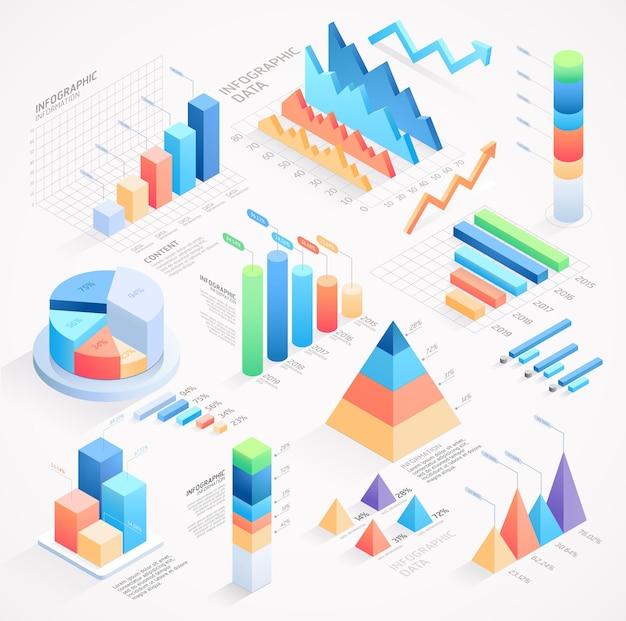 Isometrische elemente der infografik