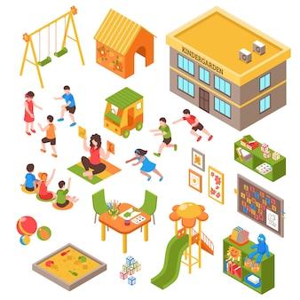 Isometrische elementsatz der baumschule