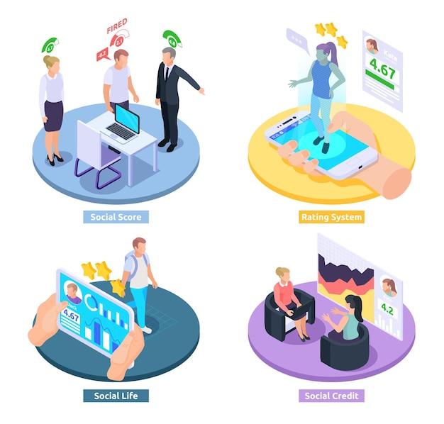 Isometrische entwurfskonzeptillustration des sozialkredit-bewertungssystems