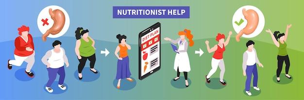 Isometrische ernährungsberaterillustration illustration