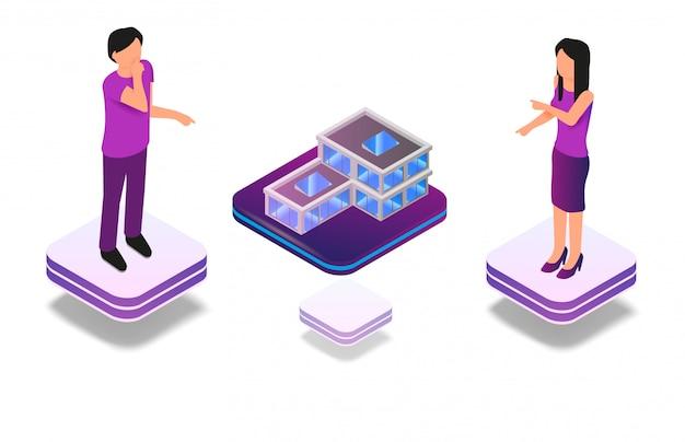 Isometrische erweiterte virtuelle realität für architekten