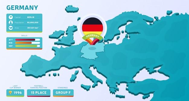 Isometrische europakarte mit hervorgehobenem land deutschland
