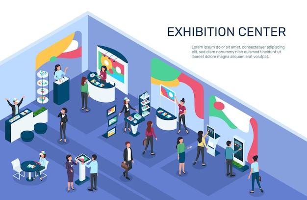 Isometrische expo-ausstellung mit menschenausstellungsdisplays steht stände zur vermarktung von produkten