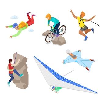 Isometrische extremsportler mit bungee, fallschirmspringen und fallschirmspringen. flache illustration des vektors 3d