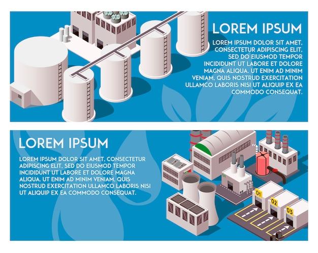 Isometrische fabrik-banner
