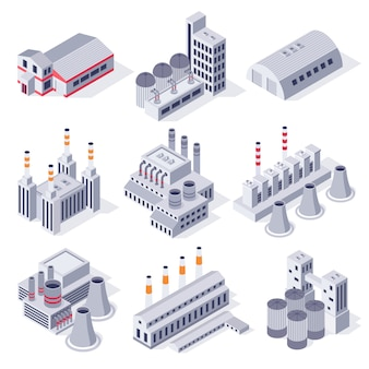 Isometrische fabrikgebäude. industriekraftwerksgebäude, lagerlager für fabriken und 3d-set für industrieimmobilien