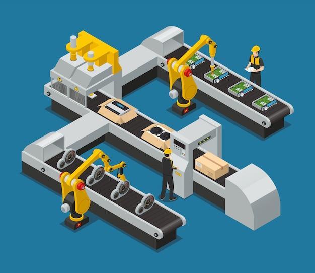 Isometrische fabrikzusammensetzung der farbigen autoelektronikselbstelektronik mit robotisiertem prozess in der fabrik