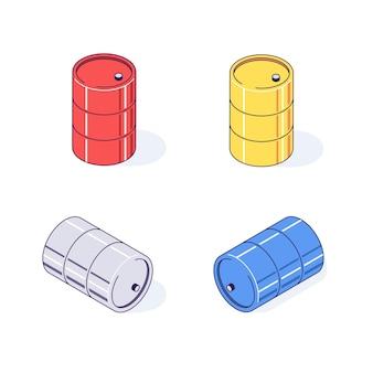 Isometrische fässer frachtgüter kraftstoff benzin benzin und brennbare illustration