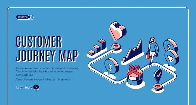 Isometrische fahne der kundenreisekarte