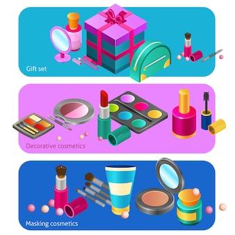 Isometrische fahnen der kosmetik
