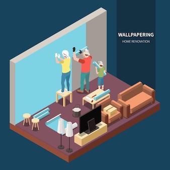 Isometrische familie, die hausrenovierung tut, die wohnzimmerillustration tapeziert