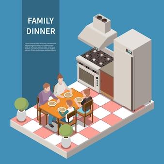 Isometrische familienfreizeitspielkomposition mit schlagzeile für das familienessen und vier personen, die am esstisch sitzen sitting