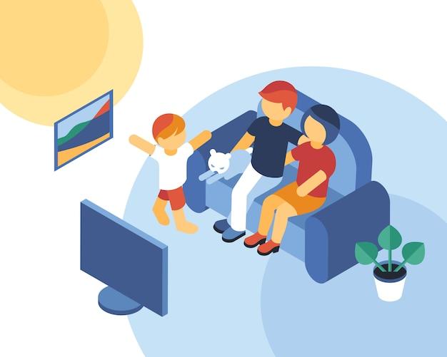 Isometrische familienzeit, die zusammen infographics fernsieht