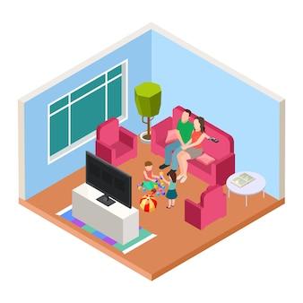 Isometrische familienzeit. vektor eltern und kinder, die fernsehen und spielen. glückliche elternschaftsillustration