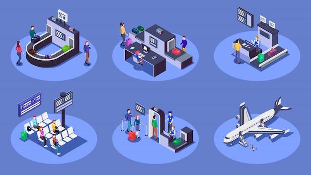 Isometrische farbabbildungen des flughafens eingestellt. reisende, die das 3d-konzept der fluggesellschaft verwenden, lokalisiert auf blauem hintergrund. check-in-schalter, gepäckscanner und sicherheitskontrollpunkt