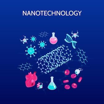 Isometrische farbe der nanotechnologie mit den wissenschaftssymbolen lokalisiert
