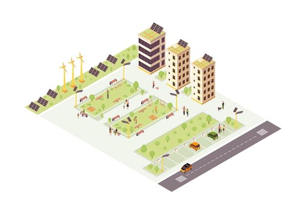 Isometrische farbe der öko-stadt. mehrstöckige gebäude mit solargittern infografik. smart city 3d-konzept. nachhaltige, umweltfreundliche umwelt. moderne stadt. isoliertes gestaltungselement