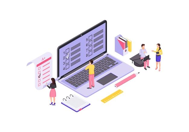 Isometrische farbe der online-prüfung. studentenprüfung, hausaufgaben infografik. computeranzeige mit sprachtestformularen. e lernklasse 3d isoliertes konzept. bildungsplattform