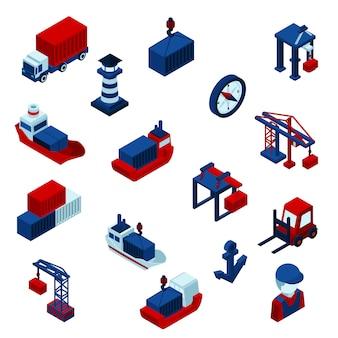 Isometrische farbe seaport icons set